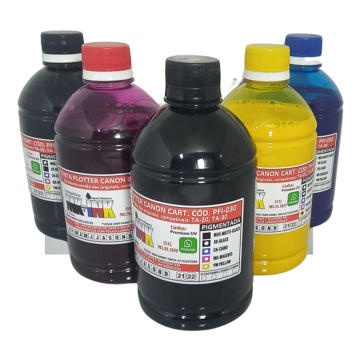 Jogo 5x100ml Tintas Premium Pigmentada Plotters Canon Ta-20 Ta-30 que utilizam cartuchos códigos PFI-030