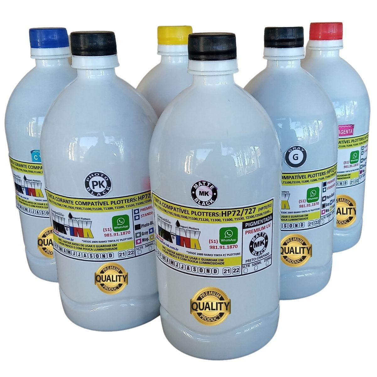 Jogo 6 litros Tinta Premium 6 cores Plotter código HP72, HP727 exclusiva p/ Plotter HP T610, T770, T790, T795,T920, T1100, T1120, T1200, T1300, T1500, T2300, T2500