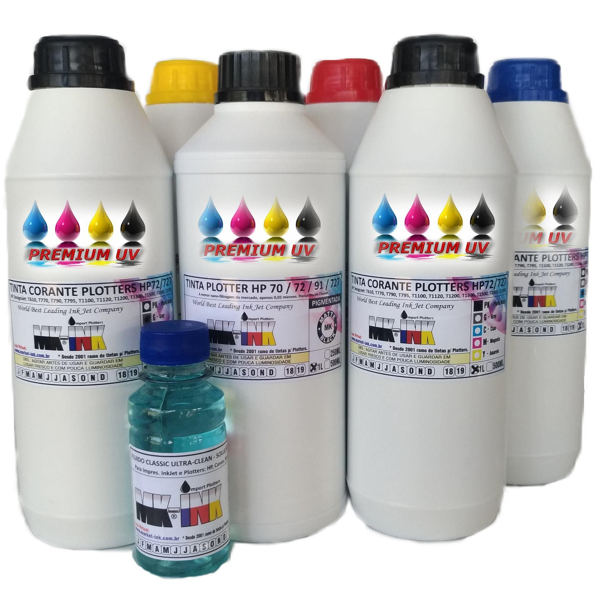 Jogo 6 litros Tinta Premium UV 6 cores Plotter código HP72, HP727 exclusiva p/ Plotter HP T610, T770, T790, T795,T920, T1100, T1120, T1200, T1300, T1500, T2300, T2500