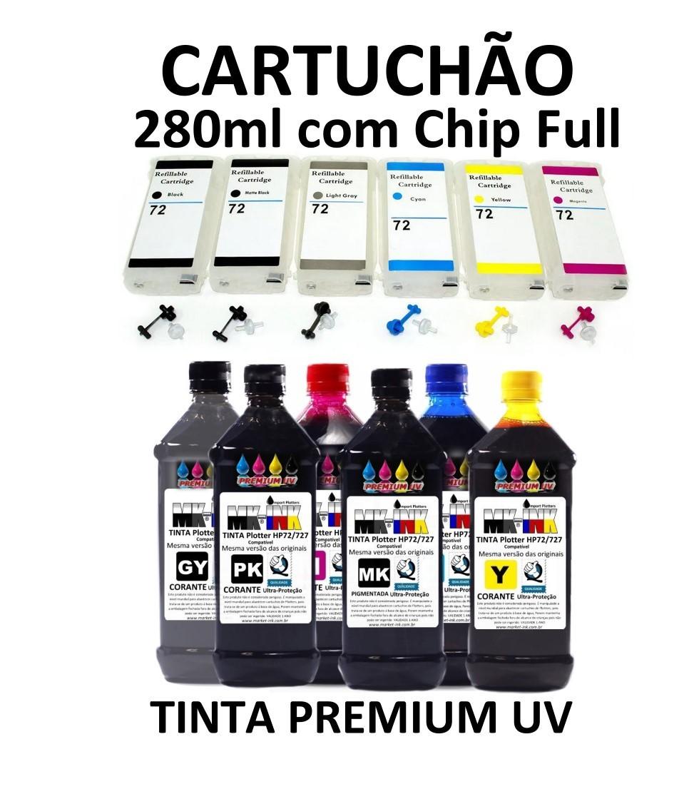 Kit Bulk 6 Cartuchões Recarregáveis 280ml com chip full Plotter Hp72 + 6 x 500ml tinta  Premium Compativel HP T610, T770, T750, T790,T1100, T1120, T1200, T1300, T2300