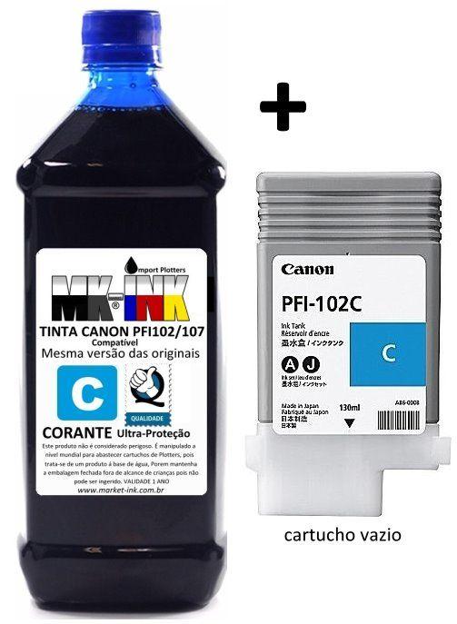 Tinta 500ml + cartucho vazio original Plotter Canon IPF 500, 600, 700, cod. PFI102