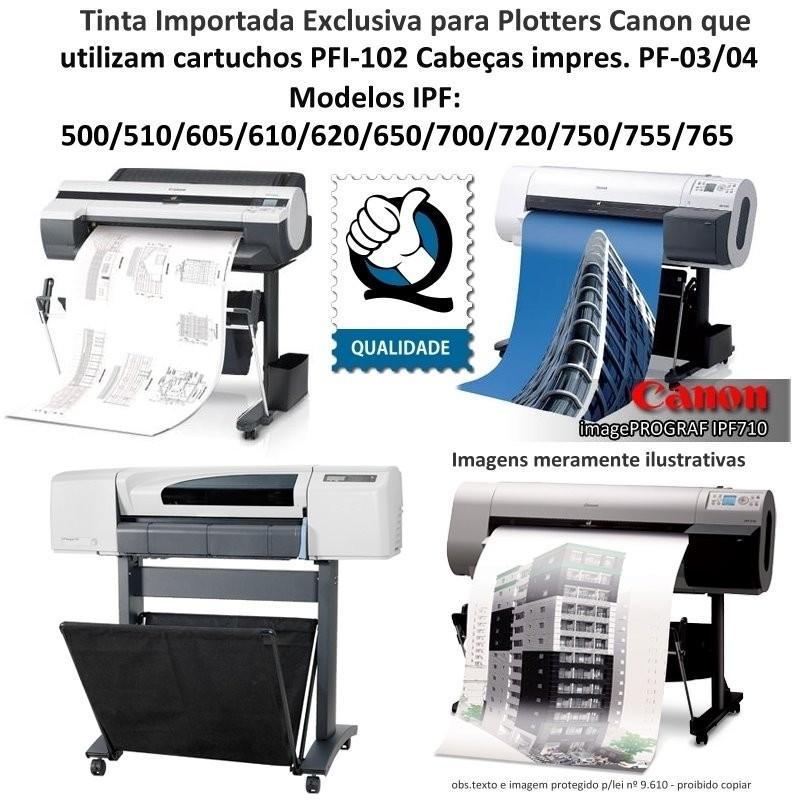 Jogo 5 ou 6 litrs Tinta Plotters Canon IPF Serie 500, 600, 700, que utilizam cartuchos cod. PFI-102, PF-107, PFI-007