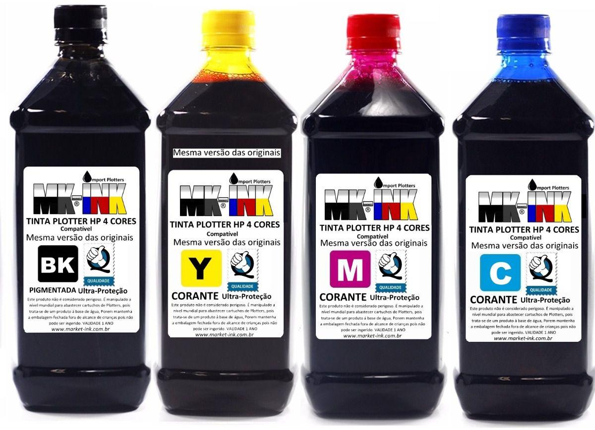 Tinta Jogo 4 litros Plotter HP 4 cores exclusiva p/ Plotter HP 500, 510, 520, 800, 815, 820, 70, 100, 110, 111, 120 etc.