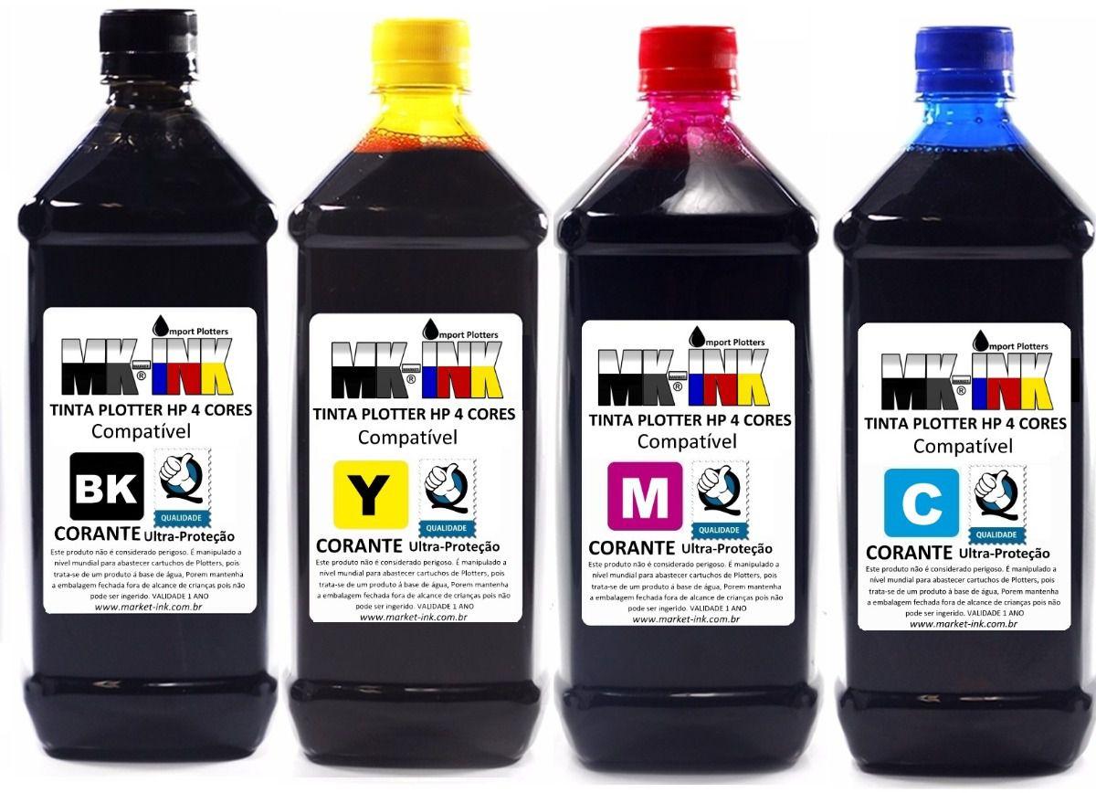 Tinta litro Plotter HP 4 cores exclusiva HP Designjet: 500, 510, 520, 800, 815, 820, 70, 100, 110, 111, 120 etc.