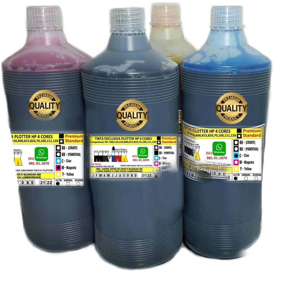 Tinta litro Premium compativel Plotter HP 4 cores exclusiva HP Designjet: 500, 510, 520, 800, 815, 820, 70, 100, 110, 111, 120 etc.
