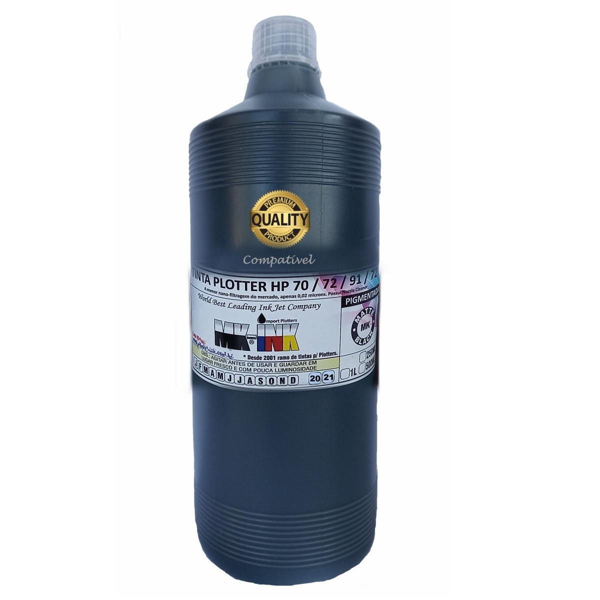 Tinta MK-Matte-Black Pigmentada Plotter HP dos cart. cod. HP72, HP70, HP91, HP727, HP771 veja os mod.