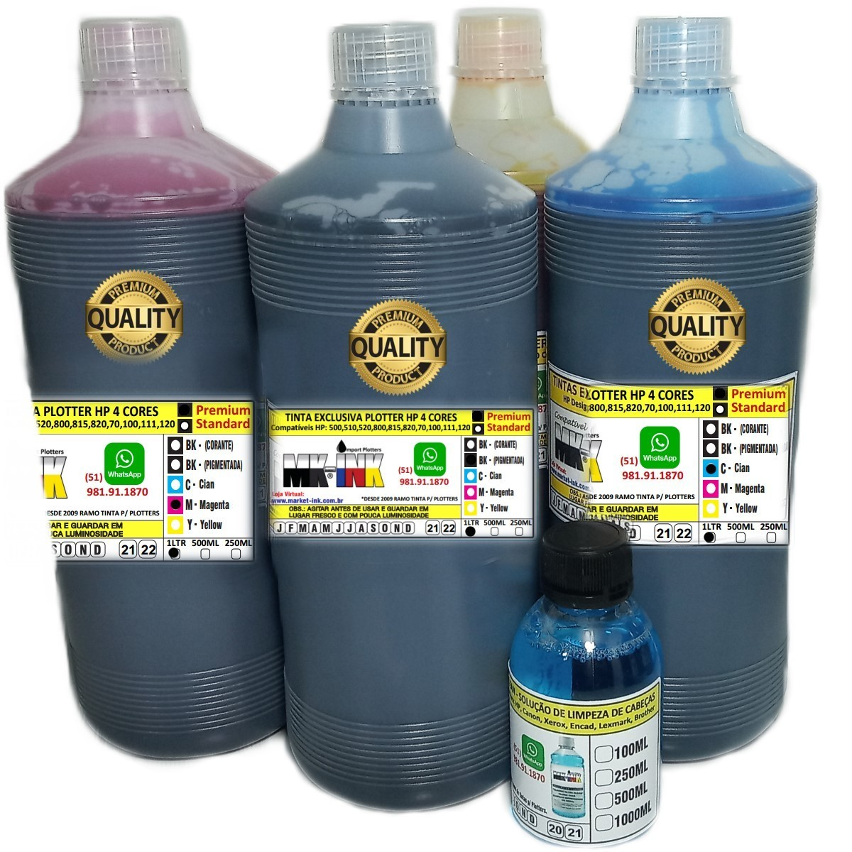 Tinta Premium Jg 4 litros Plotter HP 4 cores exclusiva p/ Plotter HP 500, 510, 520, 800, 815, 820, 70, 100, 110, 111, 120 etc.