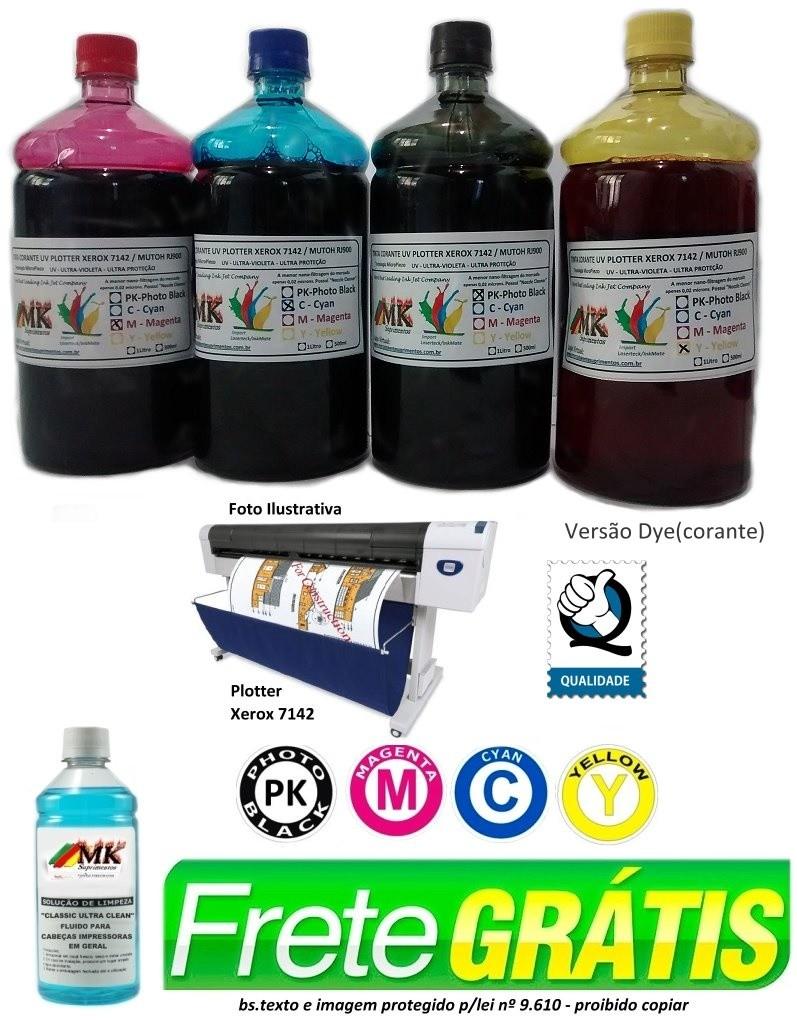 Jogo 4 litros Tinta Dye Plotter Xerox 7142 / Mutoh RJ900 Tecnologia MicroPiezo