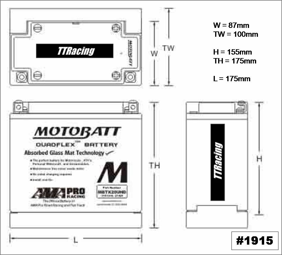 Bateria Motobatt MBTX20UHD  - T & T Soluções