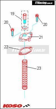 Kit parafuso fixação da tampa do pistonete KOSO  - T & T Soluções