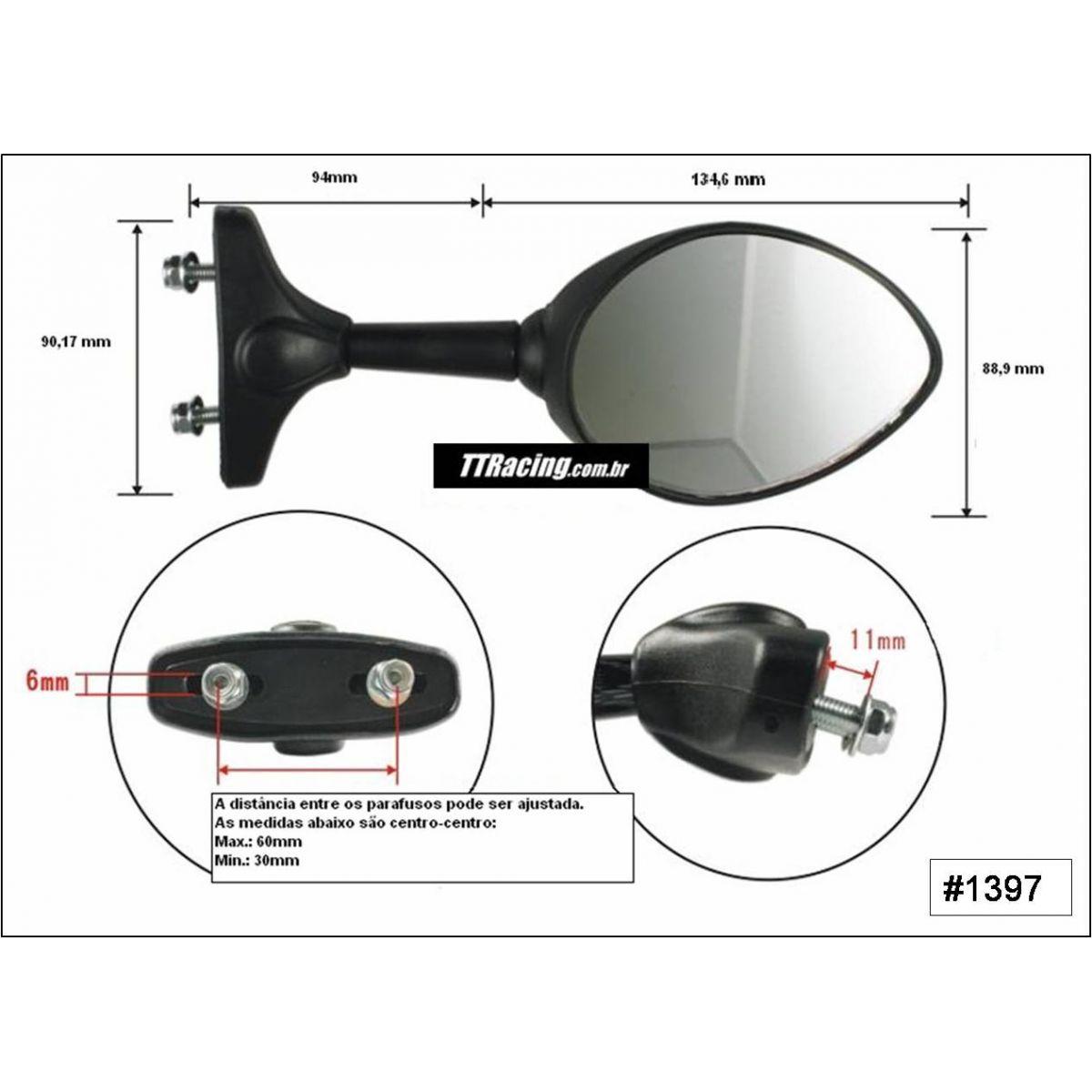 Espelho retrovisor CBR600F 1991 até 2006  - T & T Soluções