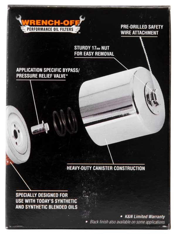 Filtro de óleo K&N KN-170C HARLEY DAVIDSON SPORTSTER 883 1200 CROMADO  - T & T Soluções