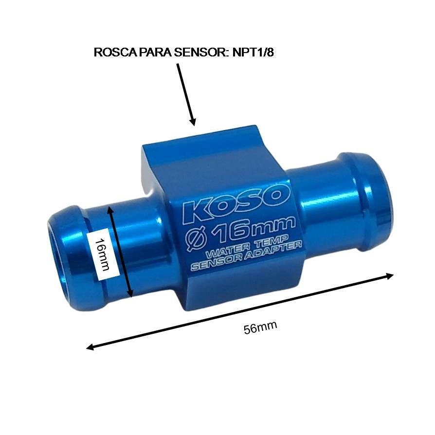 Adaptador Sensor Temperatura Água Radiador 16mm Koso  - T & T Soluções