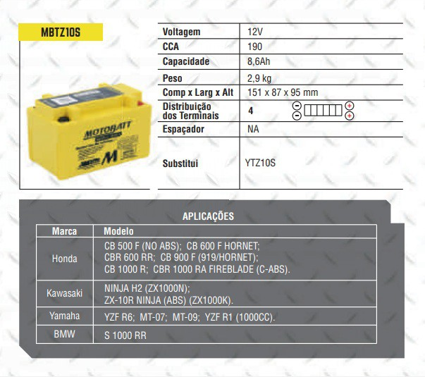 Bateria MOTOBATT MBTZ10S  - T & T Soluções