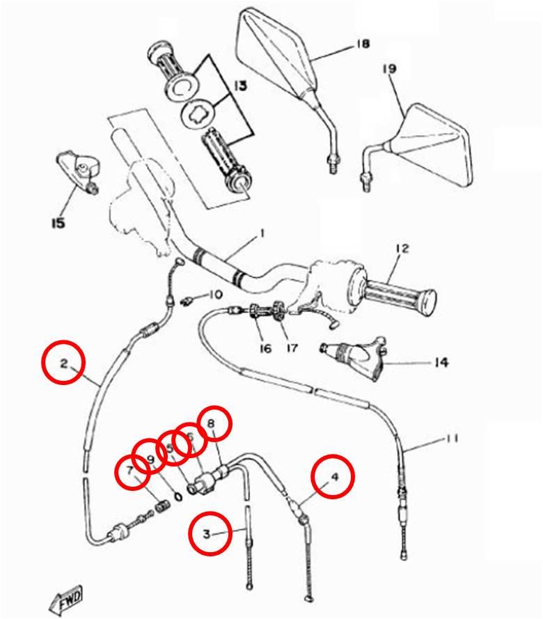 Cabo Acelerador Completo RDZ 125 e 135 até 1988  - T & T Soluções