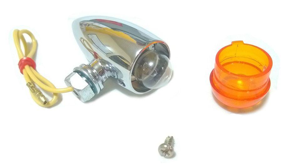 Pisca Seta Universal Bullet Cromado Café Racer Customização  - T & T Soluções