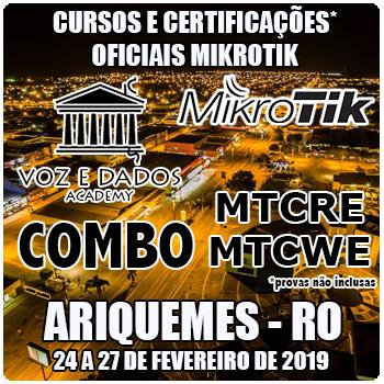 Ariquemes - RO - COMBO Certificações Oficiais Mikrotik - MTCRE E MTCWE  - Voz e Dados