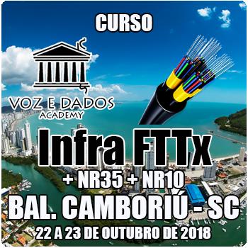 Balneário Camboriú - SC - Curso Infra FTTx + NR35 + NR10  - Voz e Dados