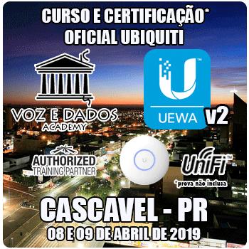 Cascavel - PR - Curso e Certificação* Ubiquiti UniFi - UEWAv2 - WiFi Avançado  - Voz e Dados