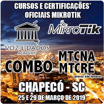 Chapecó - COMBO Certificações Oficiais Mikrotik - MTCNA E MTCRE  - Voz e Dados