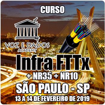 São Paulo - SP - Curso Infraestrutura FTTx + NR35 + NR10  - Voz e Dados