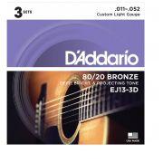 Kit com 3 Encordoamento Daddario Violão Aço EJ13-3D  011-052