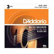 Kit com 3 Encordoamento Daddario Violão Aço EJ10-3D  010-047