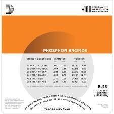 Encordoamento D'addario Violão Aço EJ15 Phospor Bronze 010-047