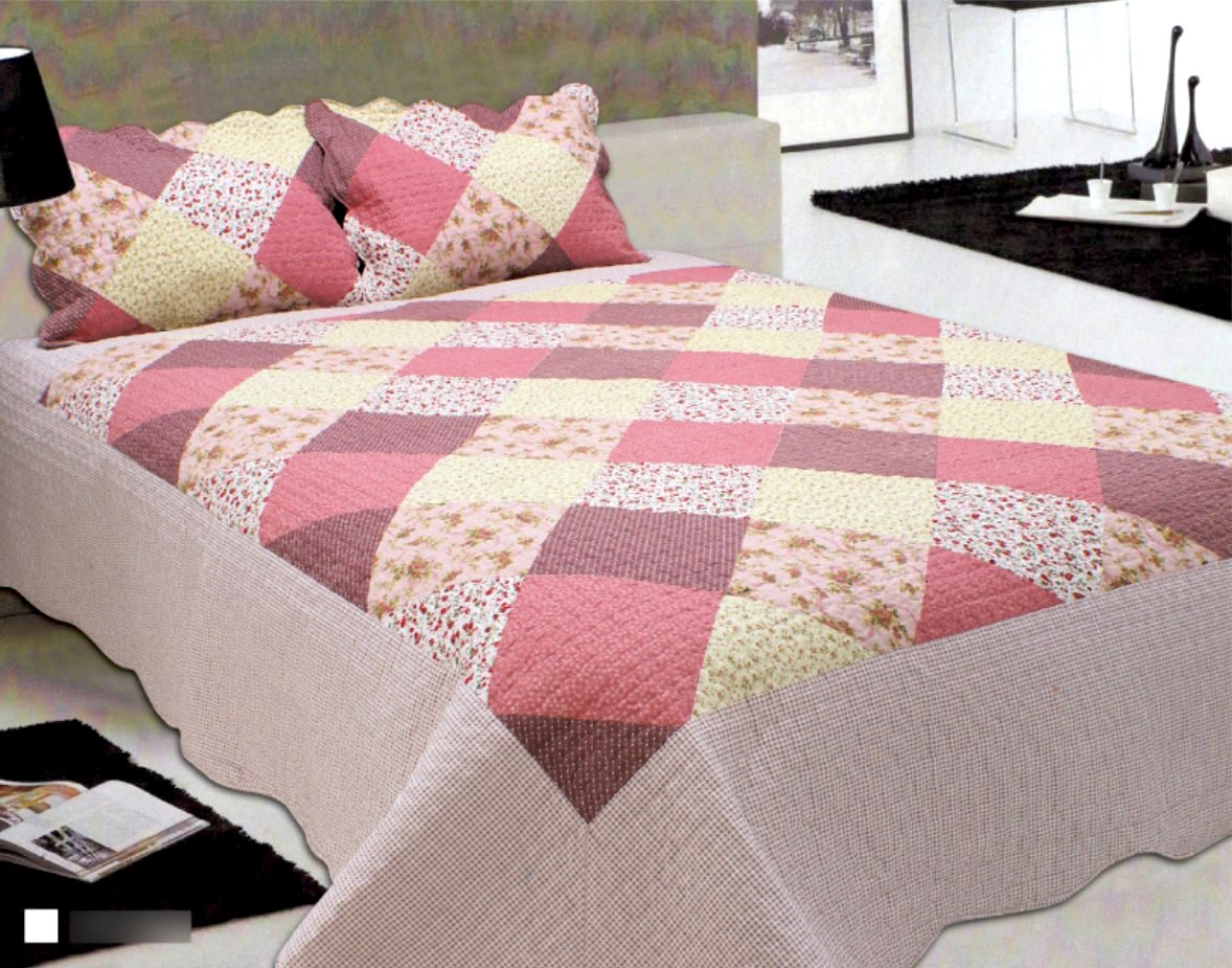 Cobre-leito Patchwork King Size Floral Rose