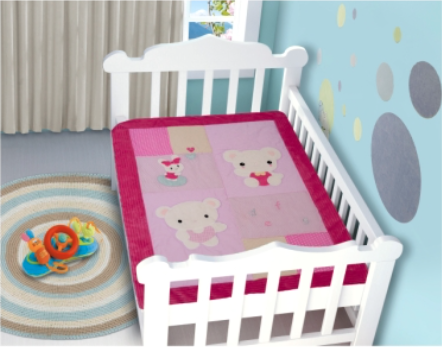 Edredom Bebê 1,16m x 0,87m Urso Rosa
