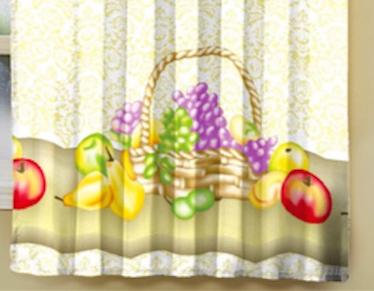 Cortina de cozinha com passante 2,00m x 1,50m Cesta de Frutas
