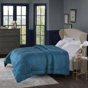 Cobertor Alaska Queen Arquimedes Azul Adriático - 100% Poliéster - Home Design