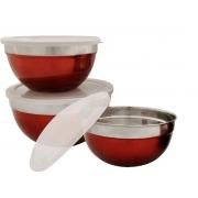 Conjunto Tigelas em Inox Vermelho 3 Peças