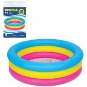 Piscina Infantil Inflável 3 Anéis Coloridos 90 Litros