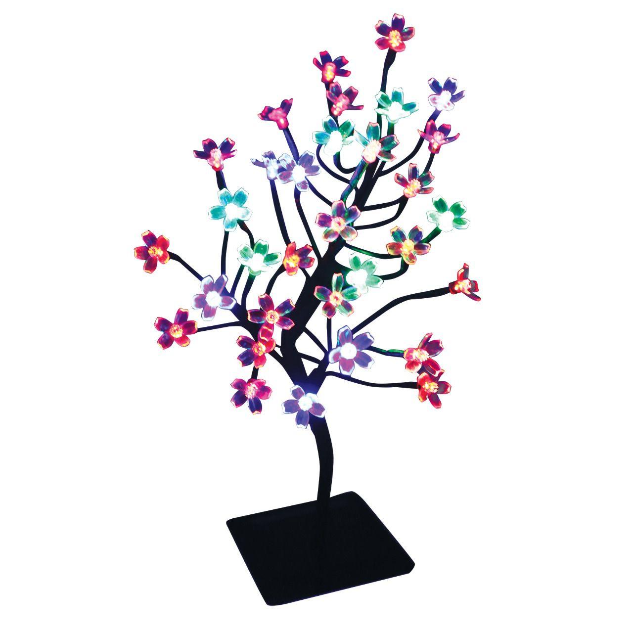 Árvore Abajur Flor Cerejeira 32 Leds Coloridos Com 40cm 127v