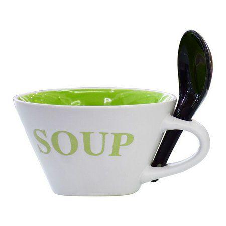 Bowl De Sopa Porcelana Spoon Verde