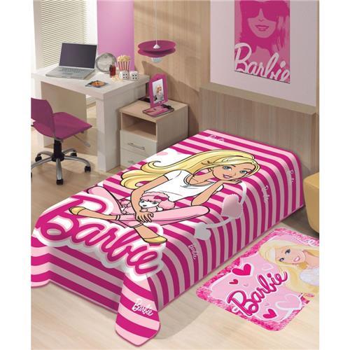 Cobertor  Raschel Disney Barbie Listras