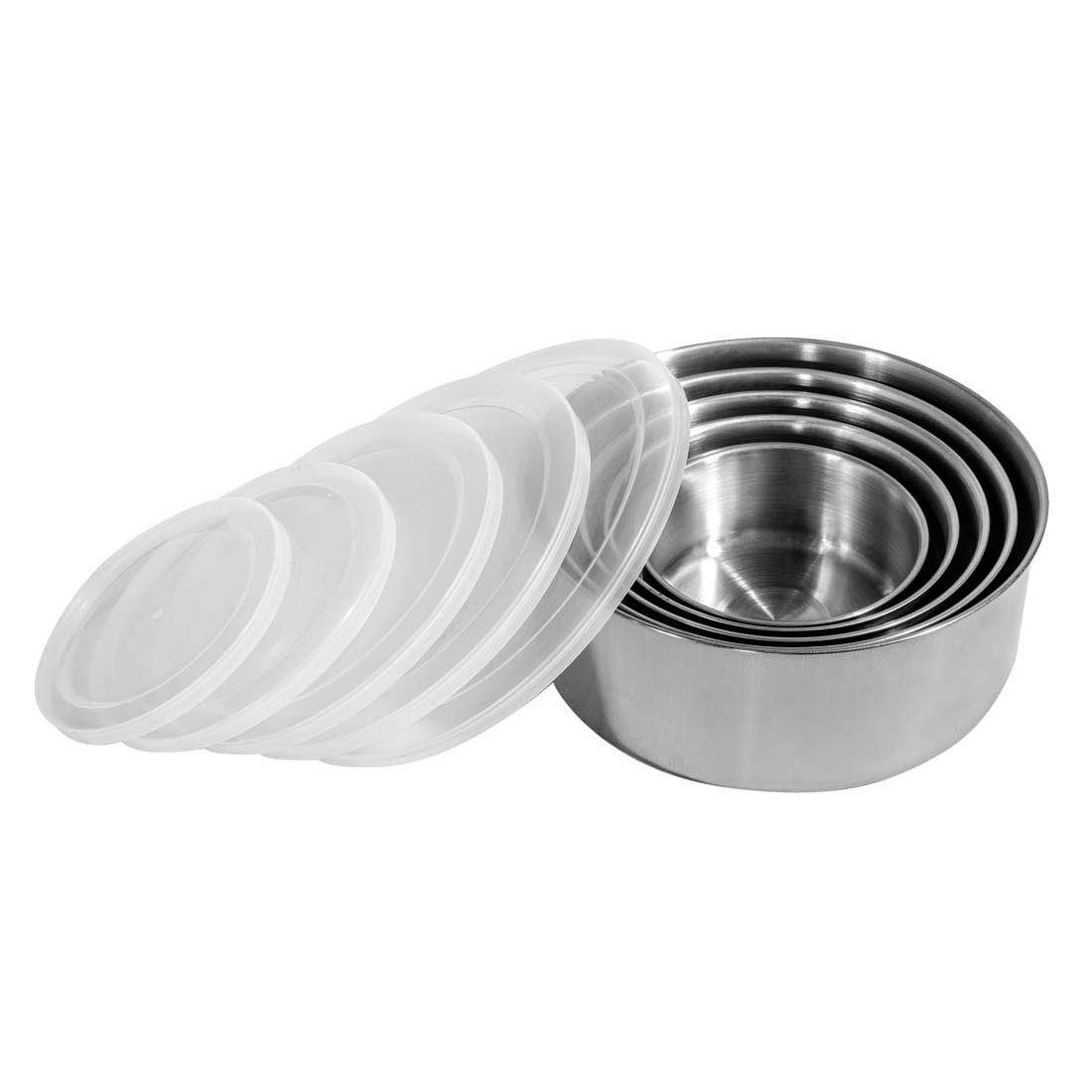 Conjunto De 5 Potes Inox Com Tampa Plástica