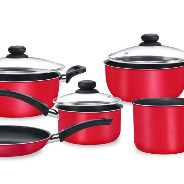 Conjunto De Panelas  Mimo 5 Peças Antiaderente Dona Chef Vermelha