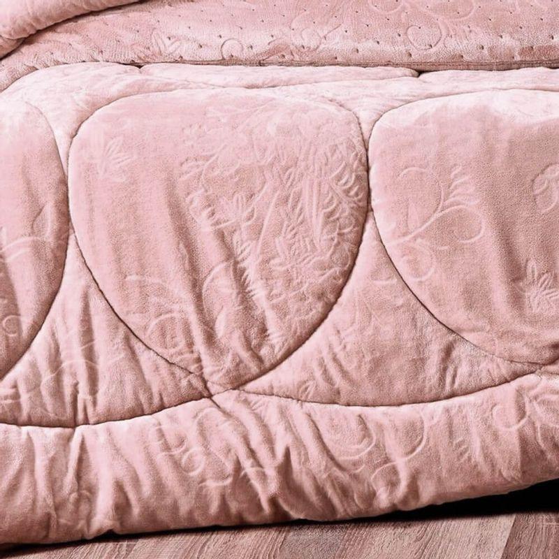 Edredom Queen Altenburg Blend Elegance Plush Premium Linear Bloom - Rosa