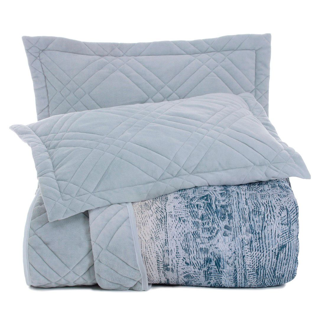 Edredom Queen Altenburg Blend Malha com Plush Universe - Azul