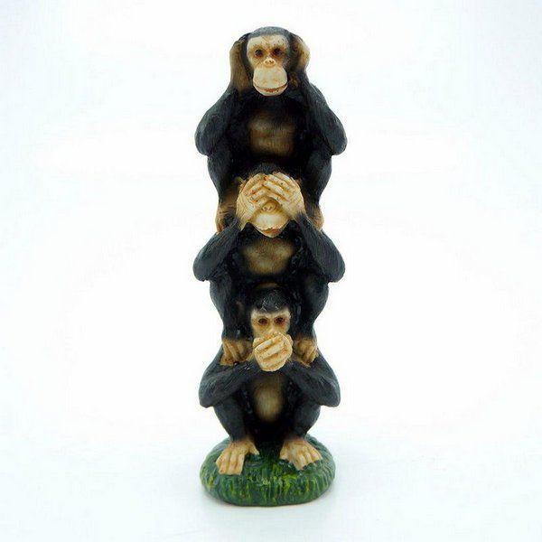 Escultura Da Sabedoria Macacos Em Pe Medio