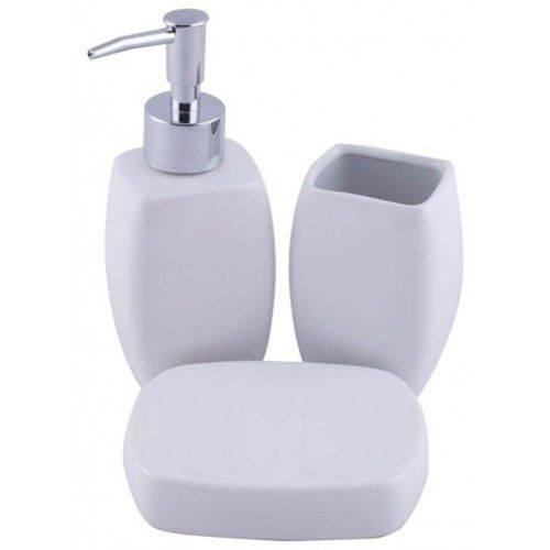 - Jogo De Banheiro Porcelana 3 Peças Lisa Branco