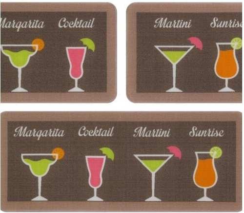 Jogo De Tapete De Cozinha Menu Cocktail 3 Peças