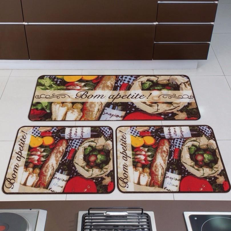 Jogo de Tapetes de Cozinha Gourmet Norte 3 Peças