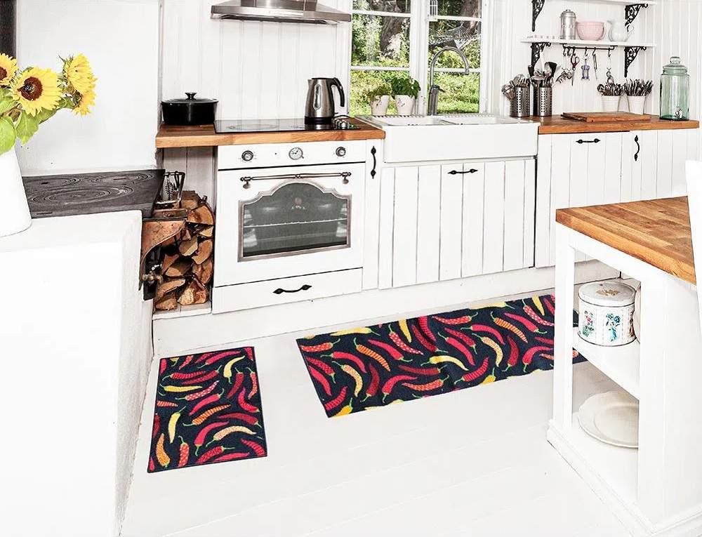 Jogo de Tapetes para Cozinha Antiderrapante  3 Peças