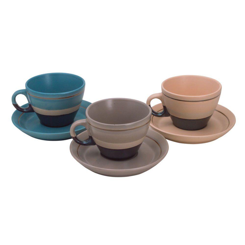 Jogo de xícaras para chá em porcelana Bon Gourmet Ribbon 6 peças 200ml colorida