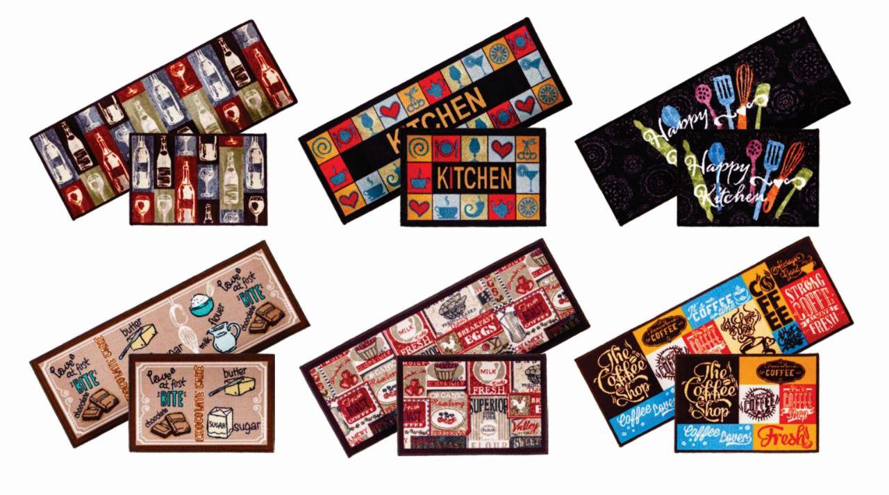 Jogo Tapete de Cozinha Bistro Color Art 2 Peças