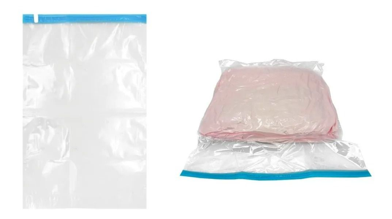 Kit 2 Pçs Saco Plástico Organizador A Vácuo Grande 60 X 80 Cm Roupa