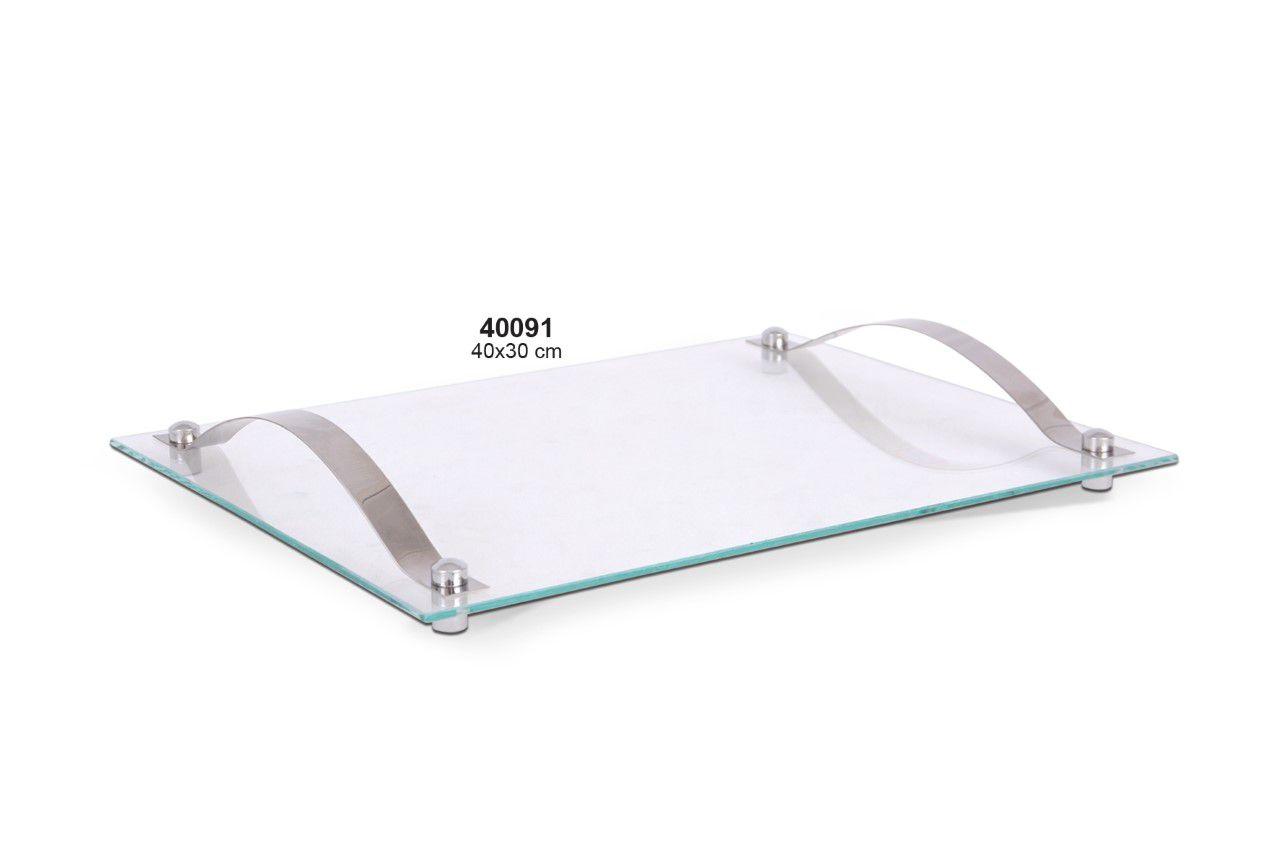 Kit 3 Bandejas de Vidro com Alça Inox